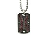 Chisel Stainless Steel Polished Blk Ip Blk/red Carbon Fiber Dogtag Necklace style: SRN204524