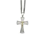 Chisel Stainless Steel Brushed and Polished Yellow Ip-plated Crucifix Necklace style: SRN205124