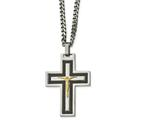 Chisel Stainless Steel Polished Blk Carbon Fiber Yellow Ip Cz Reverse Crucifix Necklace style: SRN205224