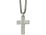 Chisel Stainless Steel Polished Textured Cross Necklace style: SRN205424