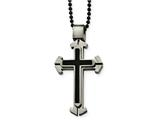 Chisel Stainless Steel Brushed And Polished Blk Ip Triple Layer Necklace style: SRN205724