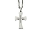 Chisel Stainless Steel Polished Cz Cross Necklace style: SRN207022