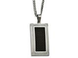 Chisel Stainless Steel Polished Grooved Black Carbon Fiber Necklace style: SRN207124