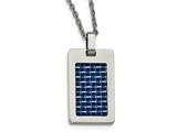 Chisel Stainless Steel Polished With Blue Carbon Fiber Dog Tag Necklace style: SRN207722