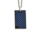 Chisel Stainless Steel Ip Black-plated With Blue Carbon Fiber Necklace style: SRN208022