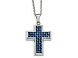 Chisel Stainless Steel Polished With Blue Carbon Fiber Cross Necklace style: SRN208122