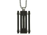 Chisel Stainless Steel Brushed And Polished Black Ip Cable Necklace style: SRN208520