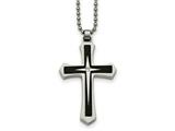 Chisel Stainless Steel Brushed And Polished Black Ip Cz Cross Necklace style: SRN208720