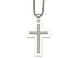 Chisel Stainless Steel Polished White Ceramic Cross Cz Necklace style: SRN208824