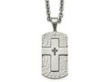 Chisel Stainless Steel Polished/satin Hammered Blk Cz Cross Dogtag Necklace style: SRN209024