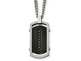 Chisel Stainless Steel Brushed/polished Black Ip Center Black Cz Tag Necklace style: SRN209522
