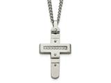 Chisel Stainless Steel Polished Cz Moveable Cross Necklace style: SRN209822