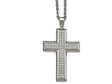 Chisel Stainless Steel Polished Cz Cross Necklace style: SRN209924