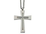 Chisel Stainless Steel Polished Cz Cross Necklace style: SRN210022