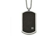 Chisel Stainless Steel Brushed Lasercut  Black Ip-plated Cz Dogtag Necklace style: SRN210424