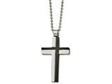 Chisel Stainless Steel Polished And Laser Cut Black Ip Cross Necklace style: SRN210520