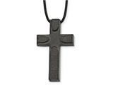 Chisel Stainless Steel Brushed Lasercut Blk Ip Cross W/leather Cord Necklace style: SRN210620