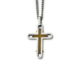Chisel Stainless Steel Polished Wood With Enamel Overlay Cross Necklace style: SRN210724