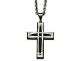 Chisel Stainless Steel Polished/brushed Black Ip Arched Cross Necklace style: SRN210824