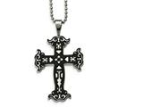 Chisel Stainless Steel Polished Black Ip Cut-out Cross Necklace style: SRN211020