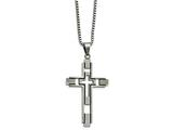 Chisel Stainless Steel Brushed and Polished Blk Enamel Inlay Cross Necklace style: SRN211222