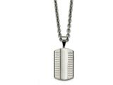 Chisel Stainless Steel Brushed/polished Grooved/concaved Dogtag Necklace style: SRN211924