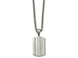 Chisel Stainless Steel Brushed And Polished Grooved Dogtag Necklace style: SRN212124