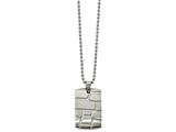 Chisel Stainless Steel Brushed And Polished Patterned Dogtag Necklace style: SRN212222