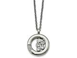 Chisel Stainless Steel Polished Circle Cz Necklace style: SRN2158215