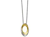 Chisel Stainless Steel Polished Gold Ip-plated Oval Necklace style: SRN218118