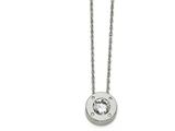 Chisel Stainless Steel Polished Cz April Birthstone Necklace style: SRN218320
