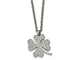 Chisel Stainless Steel Polished Cz Four Leaf Clover Necklace style: SRN218522