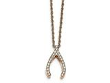 Chisel Stainless Steel Rose Ip-plated W/ Cz Wishbone Necklace style: SRN218616