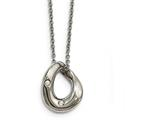 Chisel Stainless Steel Polished Wavy Circle 2 Crystal Necklace style: SRN218818