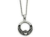 Chisel Stainless Steel Polished And Antiqued Claddagh Necklace style: SRN218918