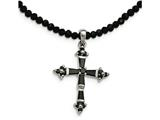 Chisel Stainless Steel Resin And Glass Beads and Cz  Cross Necklace style: SRN220618