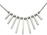 Chisel Stainless Steel Polished Bars And Beads W/1.25in. Ext Necklace style: SRN22171525