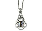 Chisel Stainless Steel Polished Imitation Abalone W/2in. Ext Necklace style: SRN221916