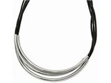 Chisel Stainless Steel Polished 3 Steel Tube W/ Black Wax Cord Necklace style: SRN222718