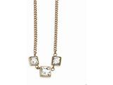 Chisel Stainless Steel Rose Ip-plated Wht Glass W/2.5in.ext Curb Necklace style: SRN2236165
