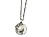Chisel Stainless Steel Polished Cz And Freshwater Cultured Pearl Necklace style: SRN223822