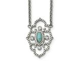 Chisel Stainless Steel Polished CZ And Imitation Turquoise With 2in Ext Necklace style: SRN224716