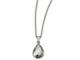 Chisel Stainless Steel Polished Hammered Hollow Teardrop Puff Necklace style: SRN226418