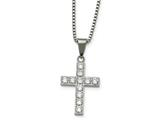 Chisel Stainless Steel Polished Round Cz Cross Necklace style: SRN226618