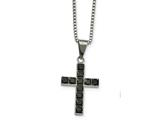 Chisel Stainless Steel Polished Black Square Cz Cross Necklace style: SRN226718