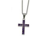 Chisel Stainless Steel Polished Purple Square Cz Cross Necklace style: SRN226918