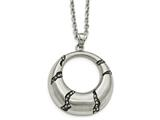 Chisel Stainless Steel Brushed With Black Oil And Crystal Circle Necklace style: SRN227120