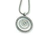 Chisel Stainless Steel CZ Circle Pendant Necklace - 18 inches style: SRN261
