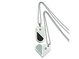 Chisel Stainless Steel Dog Tag Heart Convertible Pendant Necklace - 22 inches