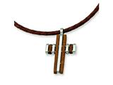 Chisel Stainless Steel Wood Accent Cross Pendant Necklace - 18 inches style: SRN304